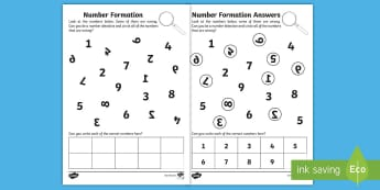 Correct Number Formation Activity Sheet - number, worksheet, orientation , EYFS, Development matters, numeracy, , overwriting