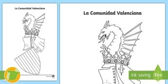 Hoja de colorear: El escudo de la Comunidad Valenciana - Mapas, provinicias, mapas mudos, mapas en blanco, las ciudades de españa, comarcas, concejos, comun