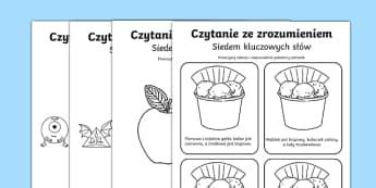 Karta Czytanie ze zrozumieniem Siedem słów kluczowych po polsku , worksheet