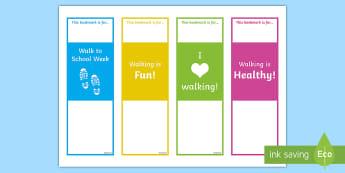 Walk to School Week Editable Bookmarks - Requests KS1, walking, walk to school, healthy, exercise