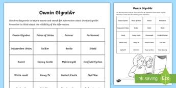 Owain Glyndŵr DCF Keyword Activity Sheet - Owain Glyndwr, history, hanes, cymru, curriculum cymreig, DCF,Welsh, Worksheet