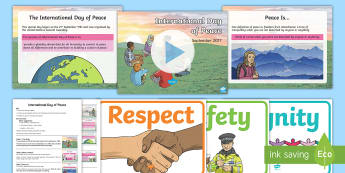 International Day of Peace PowerPoint and Script Whole School Assembly Pack - peace, refugee, immigrant, race, war, syria, peace day