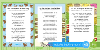 Songs and Rhymes Resource Pack to Support Teaching on Dear Zoo - Dear Zoo, Rod Campbell, animals, letter to the zoo, singing, song time