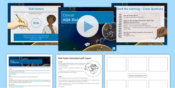 AQA Biology Unit 4.2 Cancer Cover Lesson Pack - cancer, Benign malignant, risk, factor, alcohol, smoking, inherited, UV, Carcinogen,
