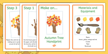 Autumn Tree Handprint Craft Instructions - make, model, art, messy, notes, idea, cut, design, art, display, home, activity, teacher, adult, led,
