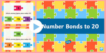 Number Bonds To 20 Jigsaw PowerPoint - New Zealand, maths, number bonds, numbers to 20, 1-20, Year 3, age 7, age 8, age 6, number bonds to