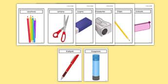 Tarjetas de vocabulario: Los objetos de mi estuche - tarjetas, vocabulario, estuche