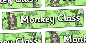 Monkey Themed Classroom Display Banner - Themed banner, banner, display banner, Classroom labels, Area labels, Poster, Display, Areas