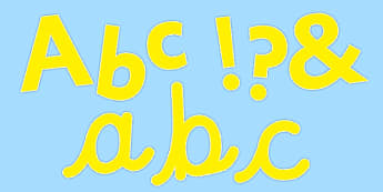Display Lettering & Symbols (Pure Yellow) - Display lettering, display letters, alphabet display, letters to cut out, letters for displays, coloured letters, coloured display, coloured alphabet