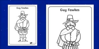 Coloriage : Guy Fawkes - Anglais, Langue Vivante, Histoire, Culture, Guy Fawkes, 5 Novembre, Bonfire, Cycle 2, Cycle 3