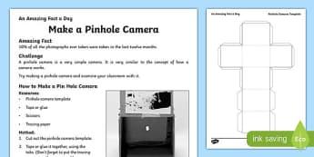 Make a Pin Hole Camera Activity Sheet, worksheet