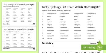 Which One's Right? Twinkl Tricky Spellings List Three  Activity Sheet - tricky spellings, commonly misspelled words, misspellings, commonly misspelt words, wrong words, SPa