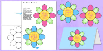 Mother's Day Flap Flower Card German - mother, mum, celebration, mothering sunday, German, Germany, Deutsche, flowers, craft, make