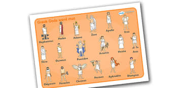 Ancient Greek Gods Word Mat - Ancient Greeks, history, Greeks, gods, god, mat, word mat, writing aid, Greece, Olympics, Olympic games, Homer, Athens, Alexander the Great , theatre, parthenon, Sparta, peloponnesian war, persians