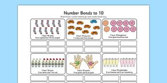 Number Bonds to 10 Stories Worksheet - number bonds, 10, stories, number, bonds