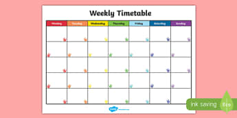 Handprints Themed Weekly Timetable - handprints, timetable, week