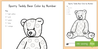 Spotty Teddy Bear Color by Number Activity Sheet - color, coloring, teddy bear, activity, art, color by numbers, worksheet