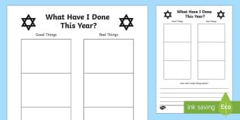 EYFS Rosh Hashanah Activity Sheet - Reflection, Improvement, God, New year, New Beginnings, Worksheet