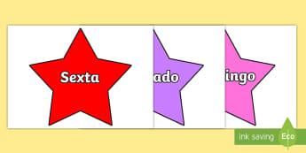 Dias da semana estrelas multicoloridas - dia,semana,mes,dias,semanas,meses,ano,anos,tempo,gestao,sala de aula, calendario, vocabulario