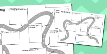 My Life Journey Worksheet - life journey worksheet, all about me worksheet, all about me, what I would like to be, my future workshet, in the future, ks2