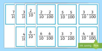 Adding Tenths and Hundredths Matching Game - tenths, hundredths, adding fractions, equivalent fractions, decimals