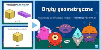Prezentacja PowerPoint Bryły geometryczne Rozgrzewka i powtórzenie wiadomości - matematyka, matematyczne, matematyczna, prezentacja, multimedialna, interaktywna, tablica, bryły, g