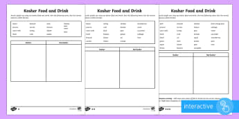 Kosher Food and Drink Differentiated Go Respond Activity Sheets - kosher, food, drink, sorting, not kosher, Jewish, Judaism, laws, rules, meat, dairy.