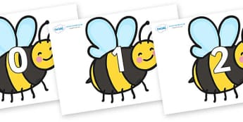 Numbers 0-31 on Bees - 0-31, foundation stage numeracy, Number recognition, Number flashcards, counting, number frieze, Display numbers, number posters