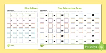Three Dice Subtraction Game - three die, dice, subtraction game, subtraction, subtract, game, activity