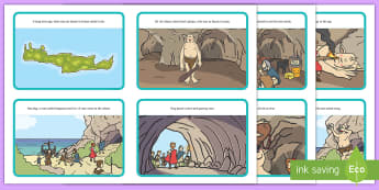Odysseus and Cyclops Story Sequencing - myths, legends, greek, order, tale, display, reading