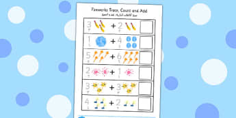 Firework Trace Count and Add Worksheet Arabic Translation - arabic