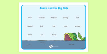 Jonah and the Big Fish Word Mat - Jonah, bible, big fish, God, Ninevah, fish, help, word mat, writing aid, mat, biblical story, biblical stories, eaten by a fish, listen to god