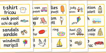 Seaside Word Cards Romanian Translation - romanian, seaside