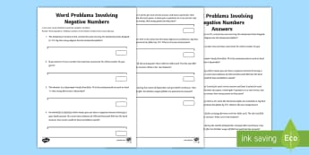 Word Problems Involving Negative Numbers Activity Sheet - maths, mathematics, numeracy, word problems, problem solving, fast finisher, addition, add, sum, sub