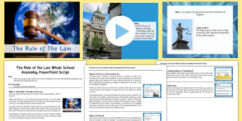 The Rule of The Law Whole School Assembly Pack - , court, judge, trial, High Court, Crown Court, Supreme Court, PowerPoint, assembly script, ks2 law,