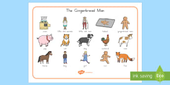 The Gingerbread Man Word Mat - Gingerbread Man, USA, story, traditional tale, vocabulary