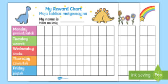 My Reward Chart Pack English/Polish - My Reward Chart - Reward Chart, free reward chart, my reward chart, rewards, reward, School reward,