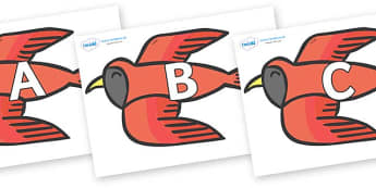 A-Z Alphabet on Red Bird to Support Teaching on Brown Bear, Brown Bear - A-Z, A4, display, Alphabet frieze, Display letters, Letter posters, A-Z letters, Alphabet flashcards