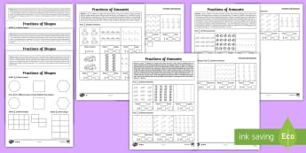 Year 2 Maths Homework Fractions Activity Pack - KS1 Maths Homework Packs, fractions, half, quarter, three quarters, 1/2, 1/3, 1/4, 3/4,