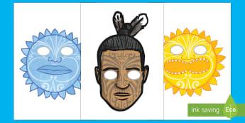 Māui and the Sun Role Play Masks - Maui Myths Maori legends