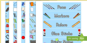 Class Supply Storage Tray Labels - labels, tray labels, sticky labels, equipment, organisation, classroom set up