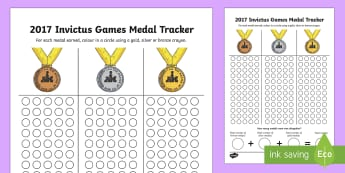 Invictus Games Medals Count and Add Activity Sheet - worksheet, display, data, sport, chart, tracker, events, olympics