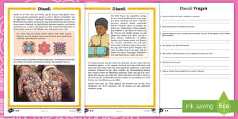 Diwali Leseverstehen Arbeitsblätter: Unterschiedliche Schwierigkeitsgrade  - Divali, Lichterfest, Hinduismus, Hindus, Feier, ,German