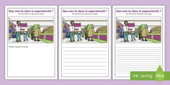 Supports imagés pour la production d'écrits : Au supermarché - Écriture, Écrire, Français, Cycle 1, Cycle 2,supermarché