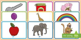 بطاقات أصوات الأحرف الأولى للمفردات  - بطاقات، مفردات، صوتيات، تواصل، لغة,Arabic