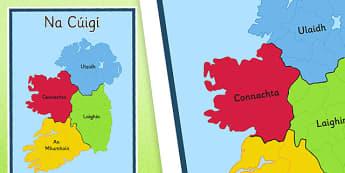 Irish Provinces of Ireland Display Poster Gaeilge - Irish, Gaeilge, Provinces, Ireland, Geography, Poster