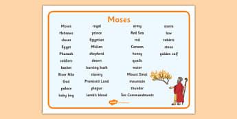 Moses Word Mat - Moses, Egypt, Hebrews, slaves, Pharaoh, basket, God, word mat, writing aid, mat, palace, shepherd, burning bush, plague, Primised Land, law, stone, ten commandments, bible, bible story