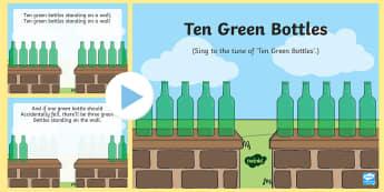 10 Green Bottles PowerPoint - 10 green bottles, 10 green bottles, nursery rhymes, nursery rhyme powerpoint, 10 green bottles nursery rhyme powerpoint