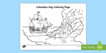 Columbus Day Colouring Page - columbus day, columbus, christopher columbus, coloring pages, columbus day coloring pages, pre-k soc