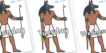 Days of the Week on Egyptian - Days of the Week, Weeks poster, week, display, poster, frieze, Days, Day, Monday, Tuesday, Wednesday, Thursday, Friday, Saturday, Sunday